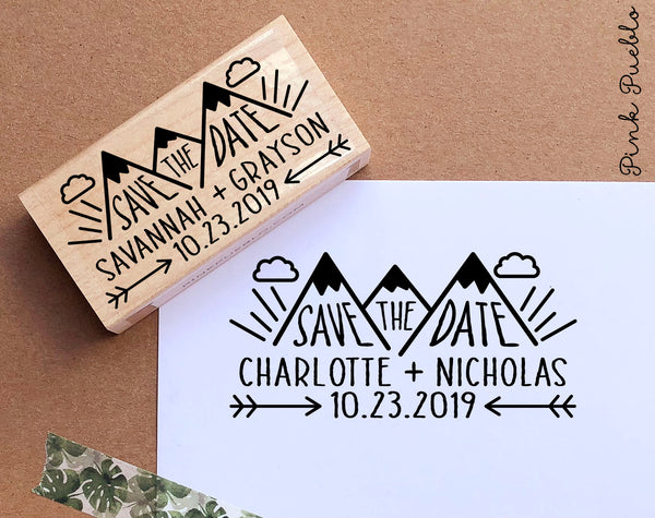 Save the Date Stamp with Mountain, Wedding Stamp, Destination Wedding Save the Date Stamp