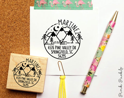 Address Stamp with Mountain, Personalized Rustic Return Address Stamp with Mountains and Trees