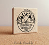 Address Stamp with Mountain, Personalized Rustic Return Address Stamp with Mountains and Trees - PinkPueblo