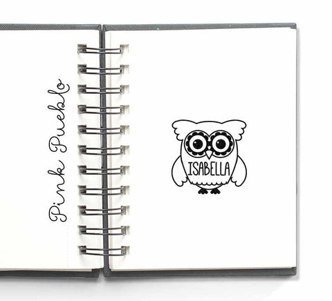 Personalized Custom Rubber Stamp, Custom Stamp with Owl - PinkPueblo