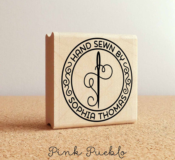 Personalized Sewing Rubber Stamp, Hand Sewn By Needle and Thread Custom Stamp