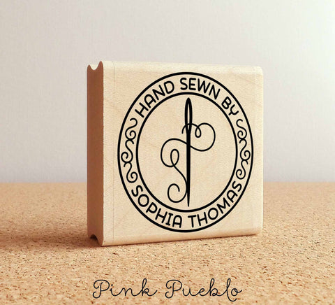 Personalized Sewing Rubber Stamp, Hand Sewn By Needle and Thread Custom Stamp - PinkPueblo