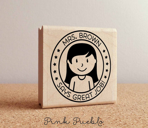 Personalized Female Teacher Rubber Stamp, Custom Teacher Stamp, Personalized Teacher Gift - Choose Hairstyle and Accessories - PinkPueblo