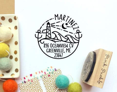 Beach Address Stamp, Personalized Modern Return Address Stamp with Ocean and Lighthouse - PinkPueblo