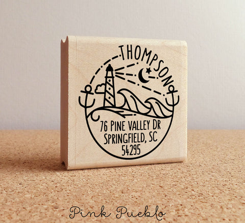 Beach Address Stamp, Personalized Modern Return Address Stamp with Ocean and Lighthouse