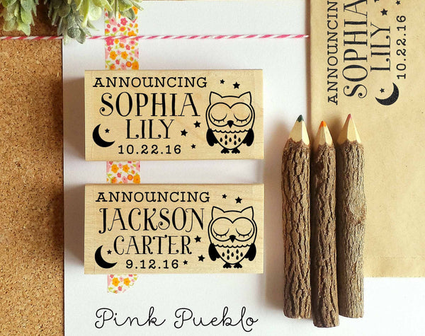Personalized Birth Announcement Rubber Stamp, Sleeping Owl Baby Announcement Stamp - PinkPueblo