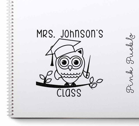 Large Personalized Teacher Owl Rubber Stamp - PinkPueblo