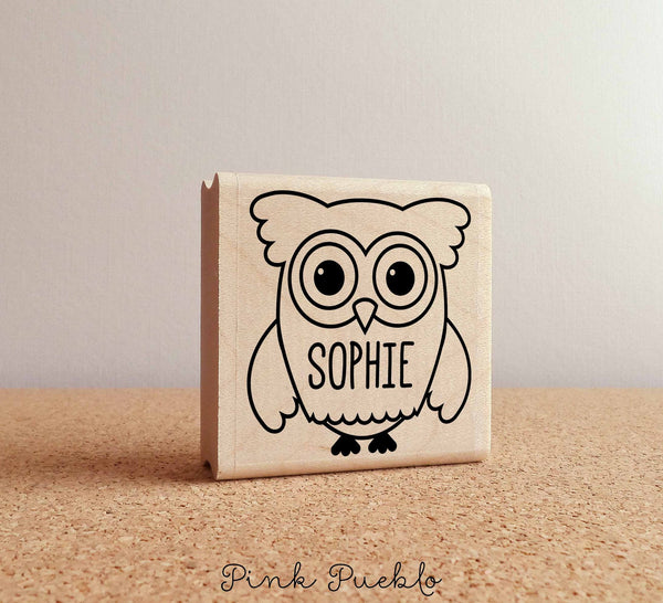 Owl Personalized Custom Rubber Stamp with Name