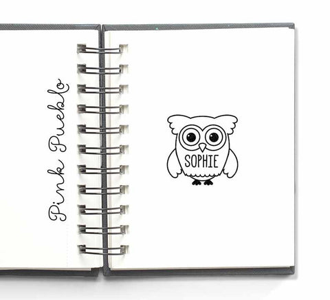 Owl Personalized Custom Rubber Stamp with Name - PinkPueblo