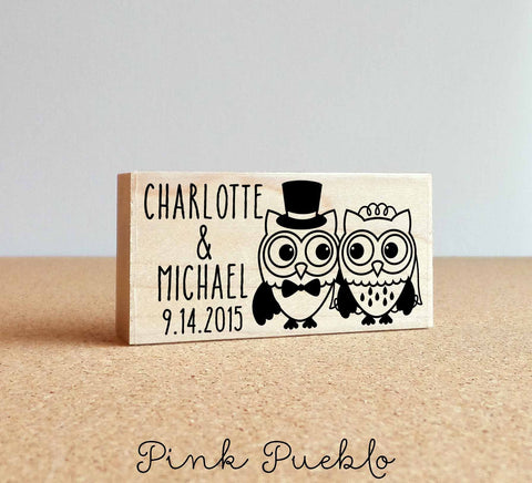 Personalized Owl Couple Wedding Rubber Stamp