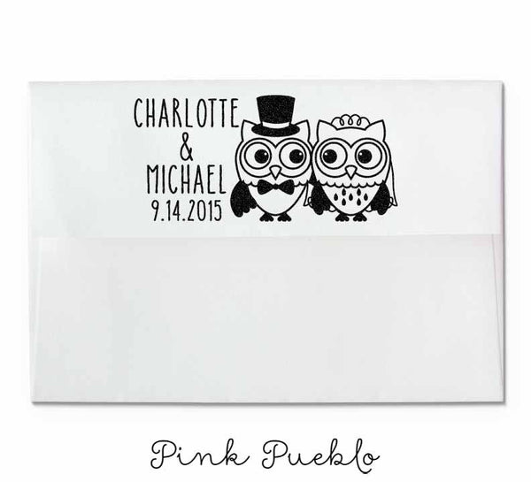 Personalized Owl Couple Wedding Rubber Stamp - PinkPueblo