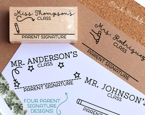 Personalized Parent Signature Stamp, Sign and Return Teacher Stamp, Teacher Gifts