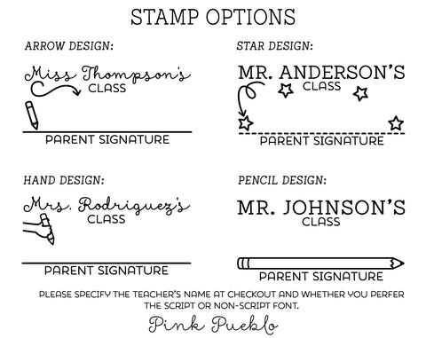 Personalized Parent Signature Stamp, Sign and Return Teacher Stamp, Teacher Gifts - PinkPueblo