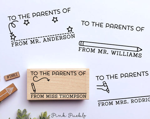 Personalized To the Parents of Stamp, Sign and Return Teacher Stamp, Teacher Gifts