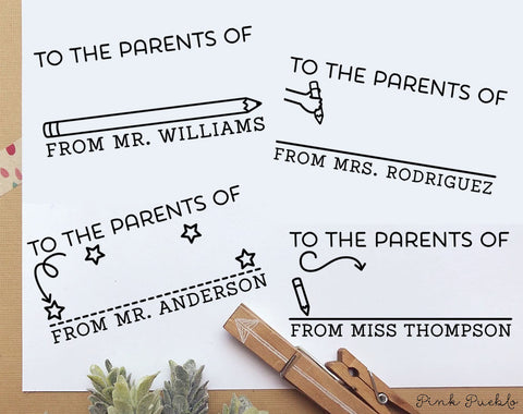 Self Inking To the Parents Of Stamp, Teacher Stamp Self Inking, Personalized Teacher Gift - PinkPueblo