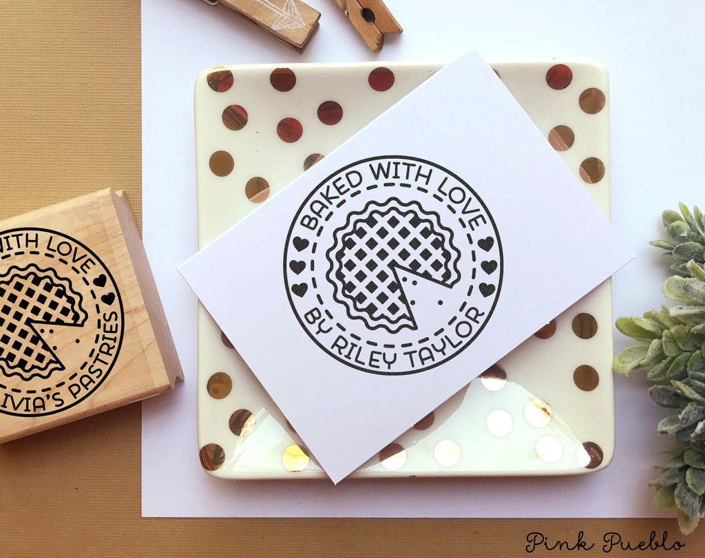 Baked with love stamp baked by stamp baked goods label stamp