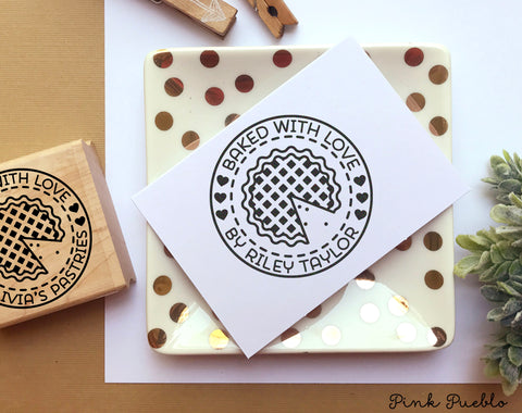 Baked with Love Stamp, Baked by Stamp, Baked Goods Label Stamp - Personalized