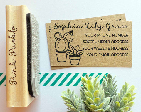 Personalized Cactus and Succulent Business Card Stamp, Custom Business Card Rubber Stamp - PinkPueblo