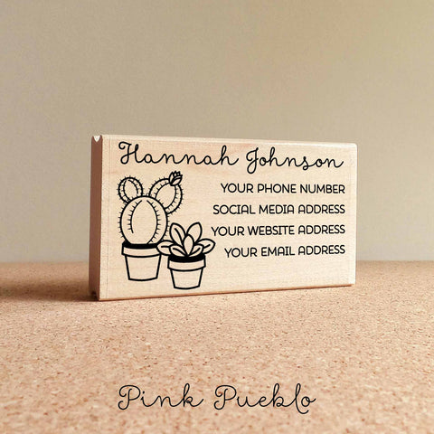 Personalized Cactus and Succulent Business Card Stamp, Custom Business Card Rubber Stamp