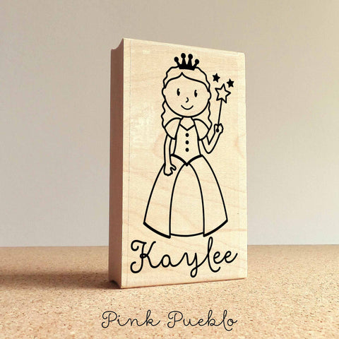 Personalized Princess Rubber Stamp for Children, Custom Princess Stamp - Choose Hairstyle and Accessories - PinkPueblo
