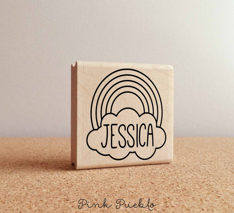Rainbow Personalized Rubber Stamp with Name - PinkPueblo