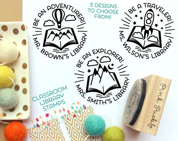 Personalized Teacher Library Stamp, Teacher Book Stamp, Classroom Book Stamp