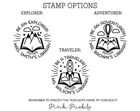 Self Inking Teacher Stamp, Self Inking Library Stamp, Personalized Teacher Gift - PinkPueblo