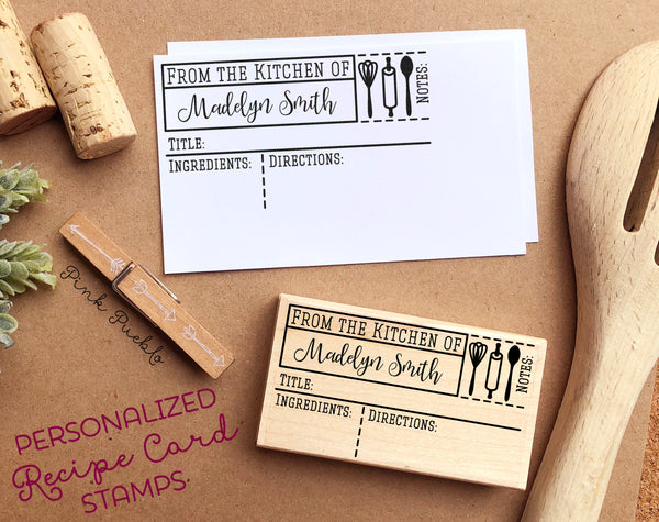 Personalized Recipe Card Stamp, For 3x5, 4x6, 5x7 and 4.25x5.5 Recipe Cards, DIY Recipe Cards - PinkPueblo