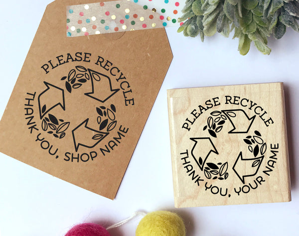 Personalized Please Recycle Stamp, Recycle Stamp for Packaging, Shipping and Mailing