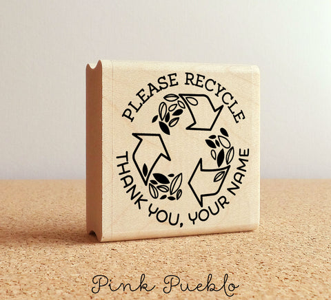 Personalized Please Recycle Stamp, Recycle Stamp for Packaging, Shipping and Mailing - PinkPueblo