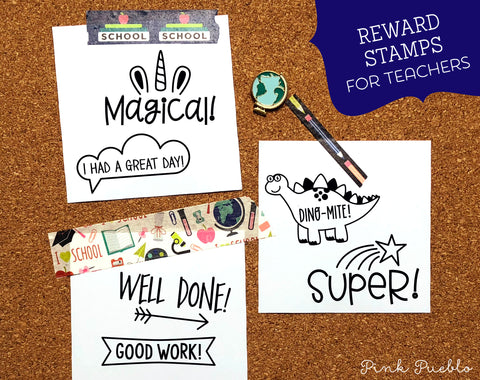 Reward Teacher Stamps, Teacher Stamps for Grading, Teacher Stamp Set - PinkPueblo