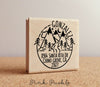 Address Stamp with Mountains and a River, Personalized Rustic Return Address Stamp - PinkPueblo