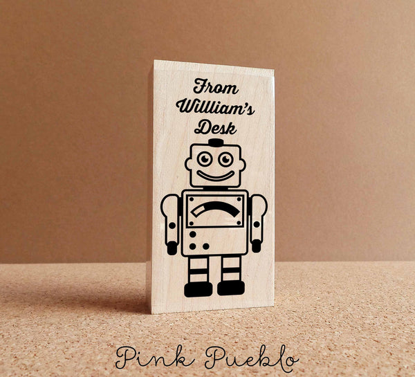 Robot Personalized Custom Rubber Stamp, From the Desk of - PinkPueblo