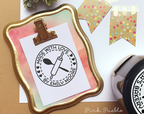 Self-Inking Made with Love Stamp, Personalized Baked with Love Stamp, Cooking Stamp or Baking Stamp - PinkPueblo