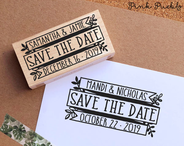 Save the Date Stamp, Rustic Wedding Stamp, Vintage Botanical Save the Date Stamp - PinkPueblo