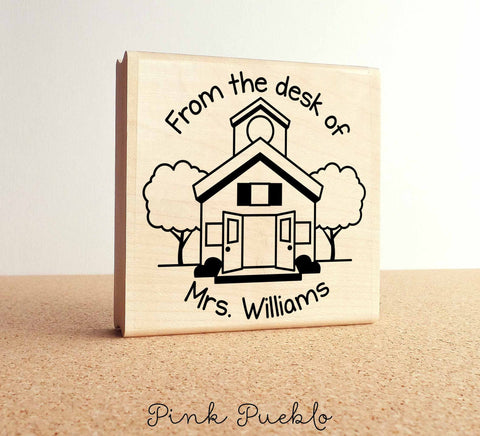 Large Personalized Teacher Schoolhouse Rubber Stamp - PinkPueblo
