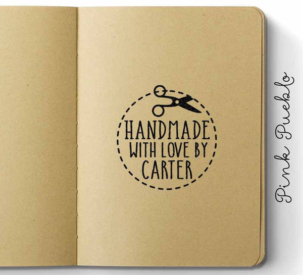 Personalized Handmade with Love Rubber Stamp - PinkPueblo