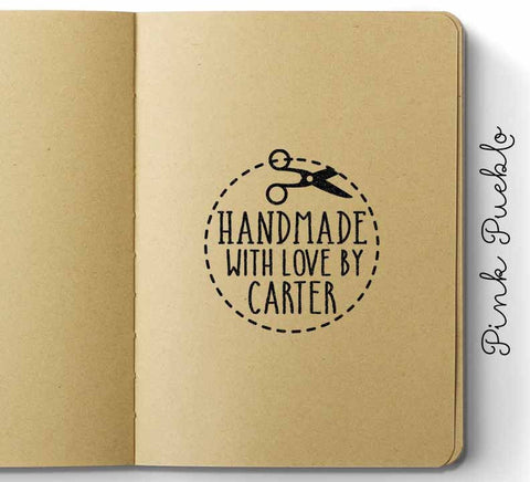 Personalized Handmade with Love Rubber Stamp