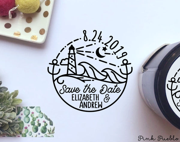 Self Inking Save the Date Stamp with Beach, Round Self-Inking Save the Date Stamp for Destination Weddings - PinkPueblo