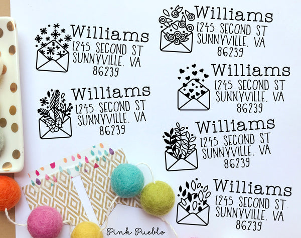 Personalized Self Inking Address Stamp with Envelope, Seasonal Return Address Stamp Self Inking, Holiday Address Stamp Self Inking - PinkPueblo