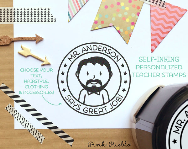 Self Inking Teacher Stamps, Personalized Teacher Gifts, Teacher Stamps Great Job - Choose Hairstyle and Accessories - PinkPueblo