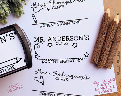 Self Inking Teacher Stamp, Parent Signature Stamp, Sign and Return Teacher Stamps Self Inking - PinkPueblo