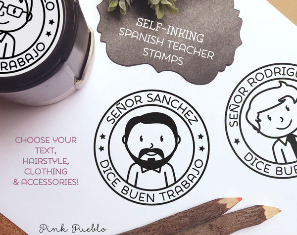 Self Inking Spanish Teacher Stamp, Spanish Teacher Gift - Choose Hairstyle and Accessories - PinkPueblo