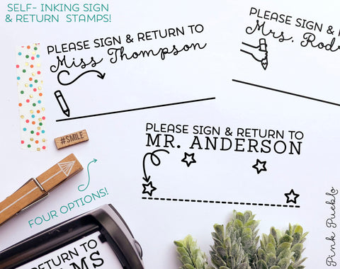 Self Inking Teacher Stamp, Sign and Return Teacher Stamps Self Inking, Teacher Stamps Personalized - PinkPueblo