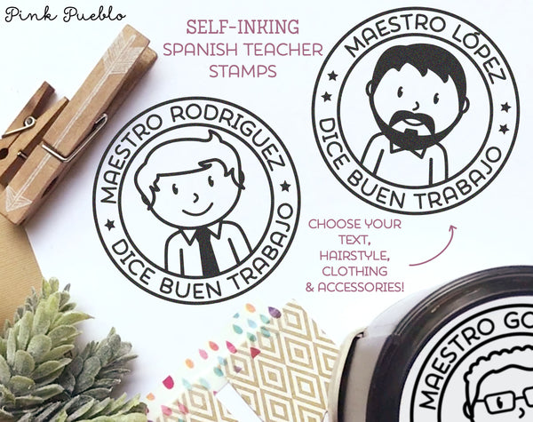 Self Inking Spanish Teacher Stamps, Spanish Teacher Gifts - Choose Hairstyle and Accessories - PinkPueblo