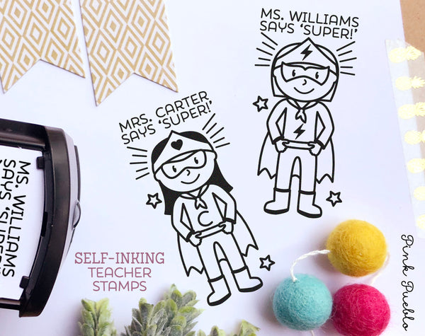 Self Inking Teacher Stamp, Superhero Teacher Stamp, Personalized Teacher Gifts - Choose Hairstyle and Accessories