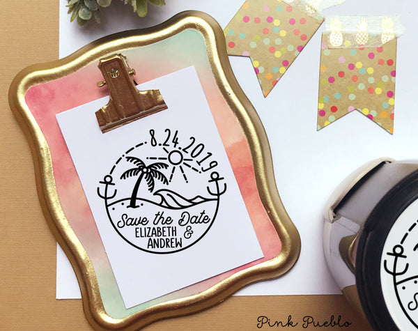 Self Inking Beach Save the Date Stamp, Round Self-Inking Save the Date Stamp for Destination Weddings - PinkPueblo