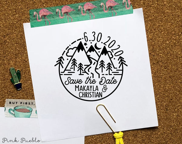 Self Inking Save the Date Stamp, Mountain Wedding Save the Date Rubber Stamp - PinkPueblo