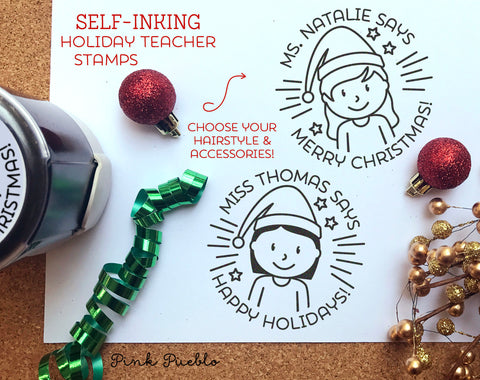 Self Inking Christmas Teacher Stamp, Teacher Christmas Gift, Merry Christmas Stamp - Choose Hairstyle and Accessories - PinkPueblo