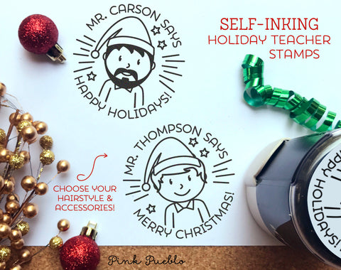 Self Inking Christmas Teacher Stamps, Teacher Christmas Gifts, Merry Christmas Stamp - Choose Hairstyle and Accessories - PinkPueblo